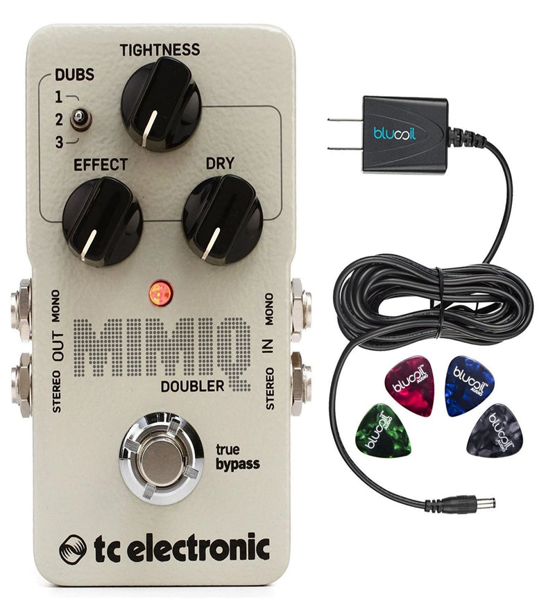 TC Electronic Mimiq Doubler Guitar Effects Pedal Bundle with Blucoil Slim 9V 670ma Power Supply AC Adapter and 4-Pack of Celluloid Guitar Picks