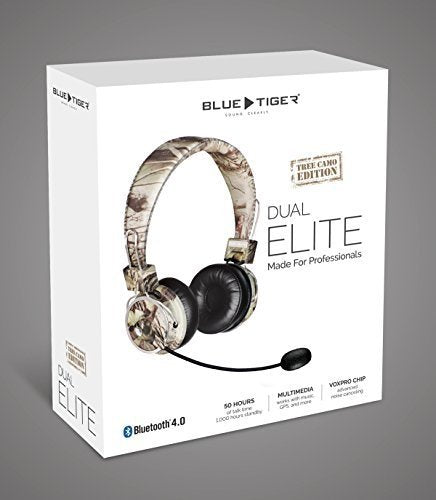 Blue Tiger Dual Elite Premium Bluetooth Headset (Tree Camo) Plus MobileSpec 12 Volt Replacement Car Charger - On The Road Bundle