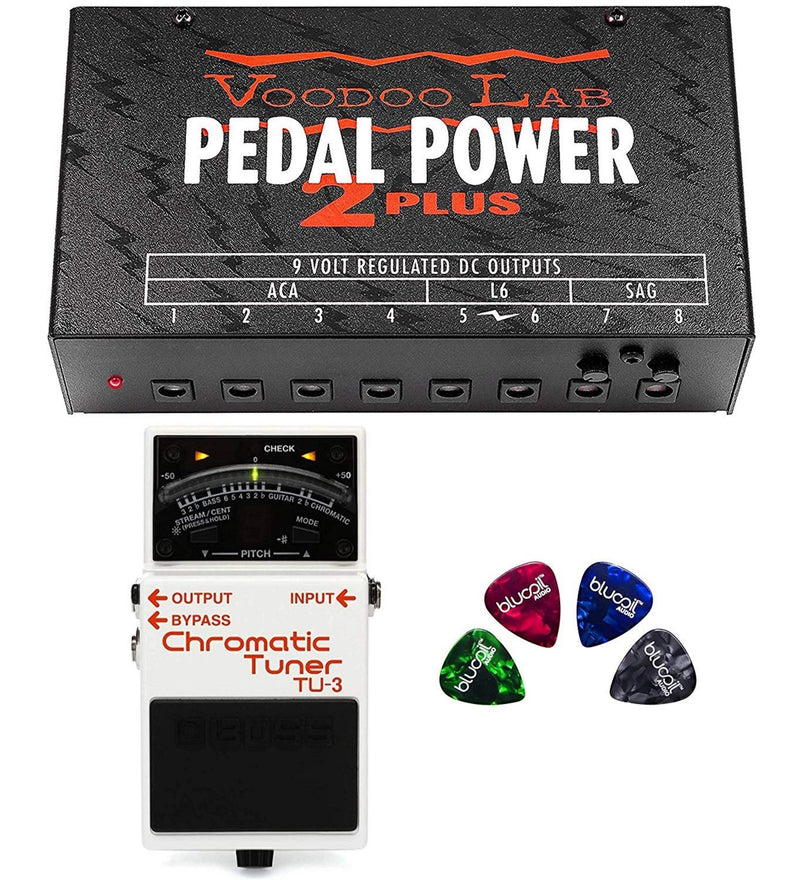 BOSS TU-3 Chromatic Tuner Pedal Bundle with Voodoo Lab Pedal Power 2 Plus Universal Power Supply with 8 Isolated Outputs and 4 Blucoil Guitar Picks