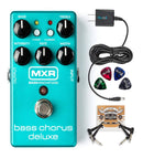 MXR M83 Bass Chorus Deluxe Pedal Bundle with Blucoil Slim 9V 670ma Power Supply AC Adapter, 2-Pack of Pedal Patch Cables and 4-Pack of Celluloid Guitar Picks