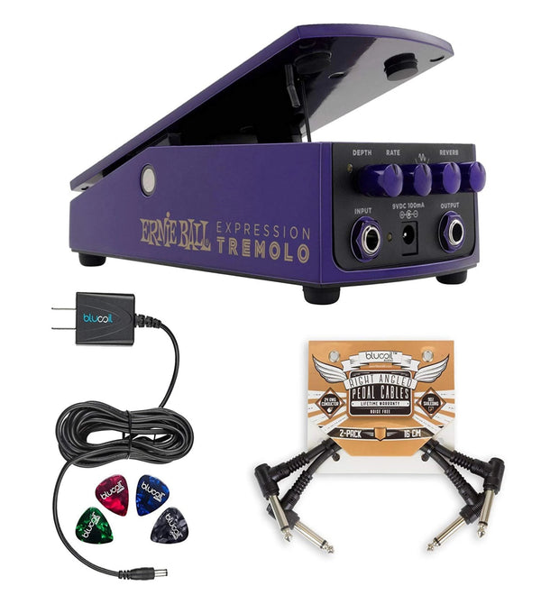 Ernie Ball Expression Tremolo Pedal (6188) Electric Guitar with Built-in Reverb Effects Bundle with Blucoil Pedal Patch Cables (2-Pack), 9V DC 670mA Power Supply Adapter and 4 Celluloid Guitar Picks