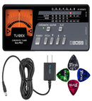 BOSS TU-12EX Guitar and Bass Chromatic Tuner Bundle with Blucoil Slim 9V 670ma Power Supply AC Adapter and 4-Pack of Celluloid Guitar Picks