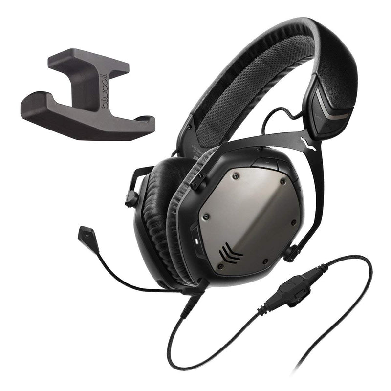 V-Moda XFBT-GM Crossfade Bluetooth Wireless Headphones with Noise Isolation (Black) Bundle with Omni-Directional BoomPro Microphone and Blucoil Adhesive Under-Desk Headphones Hook Mount