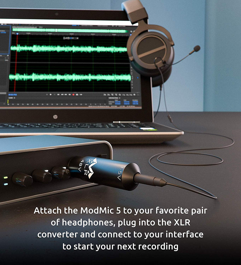 Antlion Audio ModMic 5 Attachable Boom Mic Bundled With 48v XLR Power Converter - For Mixers and Audio Interfaces