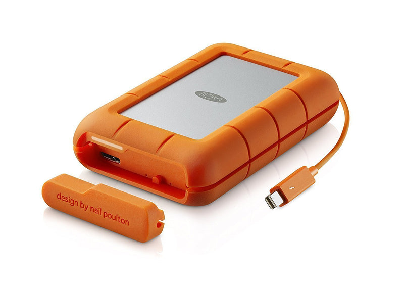 LaCie STFA4000400 Rugged RAID 4TB Mobile Hard Drive with Thunderbolt/USB 3.0 / USB 2.0 Bundled with Blucoil Mini USB-C Hub 4 USB Ports Fast Charging Data Transfer Cable