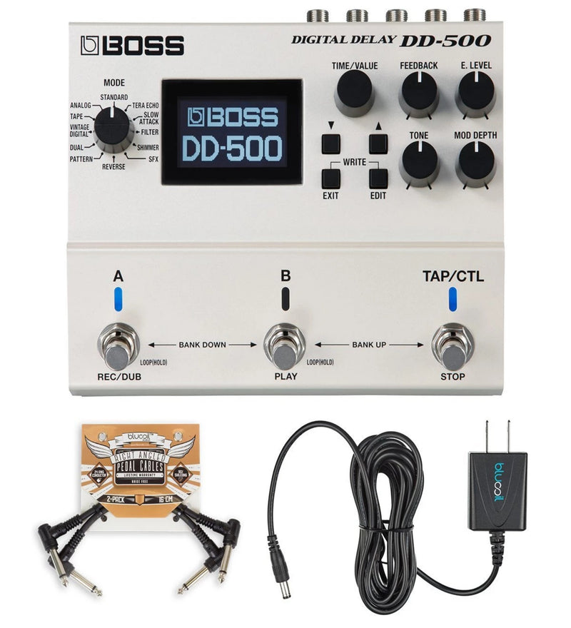 BOSS DD-500 Digital Delay Stompbox with True Bypass Bundle with Blucoil 2-Pack of Pedal Patch Cables and Slim 9V 670ma Power Supply AC Adapter