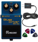 BOSS BD-2W Waza Craft Blues Driver Distortion & Overdrive Pedal + Blucoil 9V AC Adapter + 4x Guitar Picks