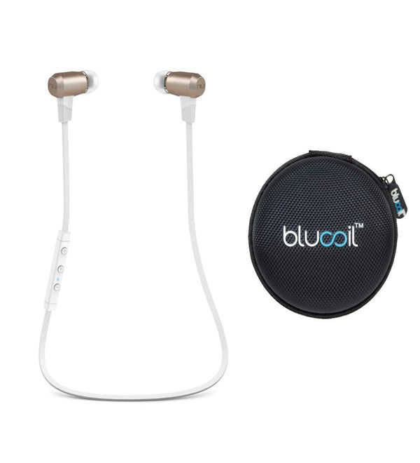 NuForce BE6i Earphones Wireless Bluetooth aptX AAC for iPhone, Android, Windows (Grey) Bundle with Blucoil Portable Earphone Hard Case