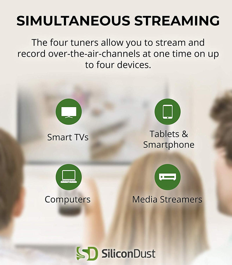SiliconDust HDHomeRun Scribe Quatro OTA DVR & Streamer with 4 TV Tuners & 1TB of Recording Storage Equivalent to 150 Hours of Live TV - (HDVR-4US-1TB)