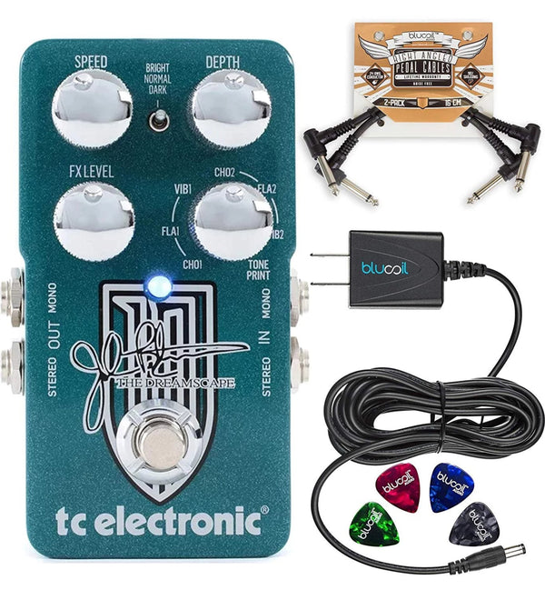 TC Electronic Dreamscape Multi-Effects Pedal, John Petrucci Signature Bundle with Blucoil Power Supply Slim AC/DC Adapter for 9 Volt DC 670mA, Pedal Patch Cables (2-Pack) and 4 Celluloid Guitar Picks
