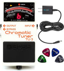 BOSS TU-3 Chromatic Tuner for Electric & Bass Guitars Bundle with Blucoil Guitar Pedal Power Supply Adapter 9 Volt 670mA and 4-Pack of Celluloid Guitar Picks