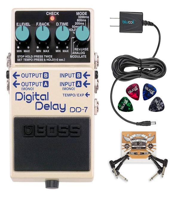 BOSS DD-7 Digital Delay Stereo Pedal + Blucoil 9V AC Adapter + 2x Patch Cables + 4x Guitar Picks
