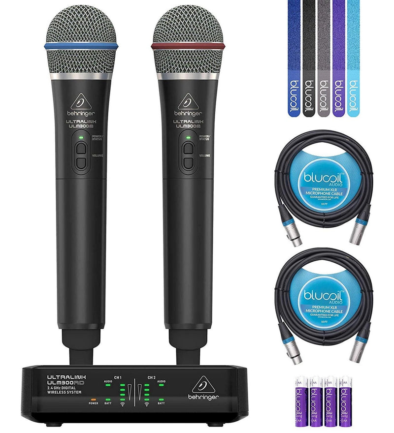 Behringer ULM302MIC Dual Handheld Microphone Wireless System Bundle with 2-Pack Blucoil 10-Ft Balanced XLR Cables, 5-Pack of Cable Ties and 4-Pack of AA Batteries