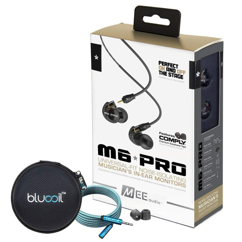 MEE audio M6 PRO 2nd Generation Noise-Isolating Musician's In-Ear Monitors, Clear Bundle with Blucoil Portable Earphone Case and Premium 3.5mm Audio Extension Cable (6-Feet/1.82 Meters)