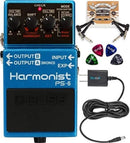 BOSS PS-6 Harmonist Pedal with Pitch Shift Bundle with Blucoil Slim 9V Power Supply AC Adapter, 2-Pack of Pedal Patch Cables, and 4-Pack of Celluloid Guitar Picks