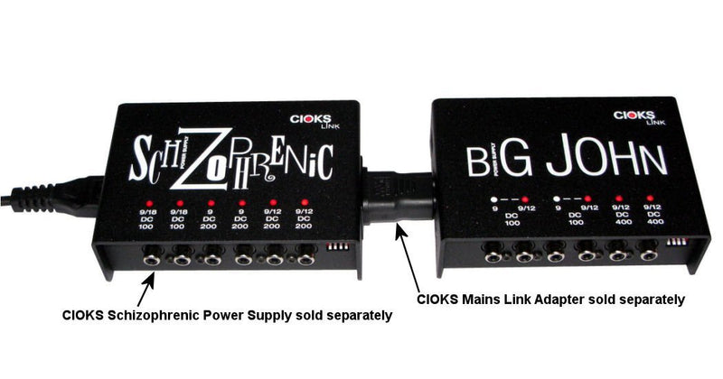 CIOKS Big John Link 9V or 12V DC Universal Power Supply with 4 Isolated Sections and 9 Flex Cables for Effect Pedals - Compatible with TC Electronic Nova-Series, Line6 M5, BOSS, EHX, and more