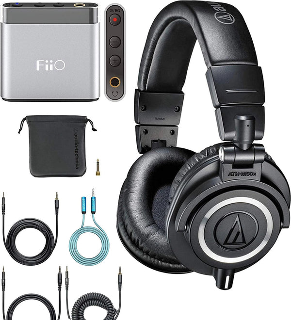 Audio-Technica ATH-M50x Closed Back Dynamic Headphones Bundle with FiiO A1 Portable Headphone Amplifier (Silver) and Blucoil 6-FT Headphone Extension Cable (3.5mm)