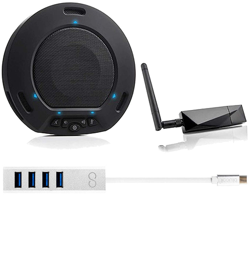 HuddleCamHD HuddlePod Air USB Wireless Speakerphone with Omnidirectional Microphone Bundle with Blucoil USB Type-C Mini Hub with 4 Ports