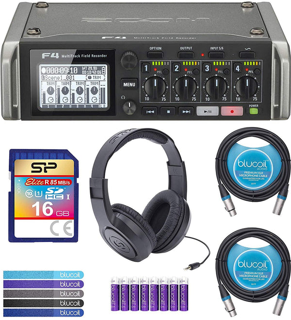 Zoom F4 Multitrack Field Recorder Bundle with Samson SR350 Headphones, Silicon Power 16GB Class 10 SD Card, 6-FT Stereo Aux Cable, 2x Blucoil 10' XLR Cables, 5x Cable Ties, and 8 AA Batteries