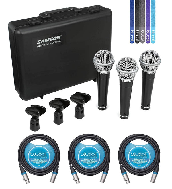 Samson R21 Cardioid Dynamic Microphone for Live Performance and Studio Recording (3 Pack) Bundle with 3-Pack of Blucoil Audio 10ft Balanced XLR Cable and 5-Pack of Reusable Cable Ties
