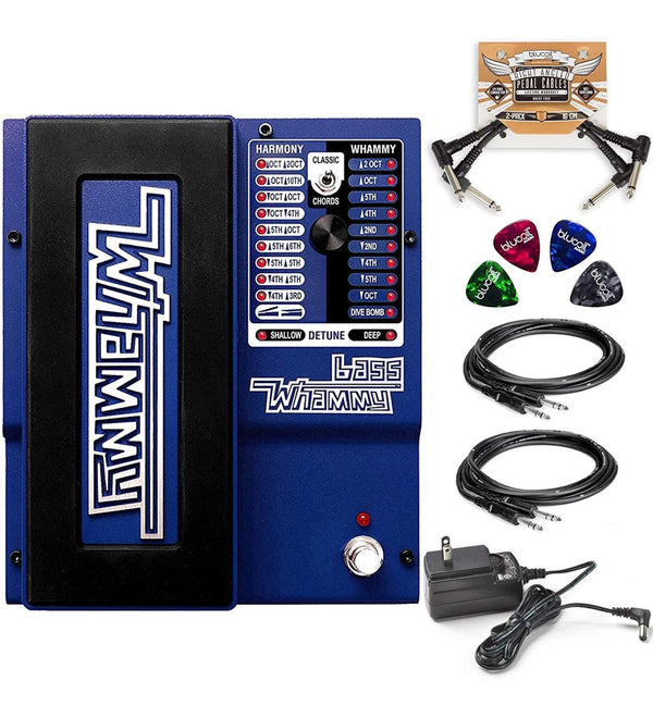 "DigiTech Bass Whammy Pedal + 9V DC Power Supply + Blucoil 10' Straight Instrument Cable (1/4"") + 2x Patch Cables + 4x Guitar Picks"