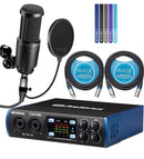 PreSonus Studio 26c USB-C Audio Interface Bundle with Studio One Artist, Studio Magic Plug-In Suite, Audio-Technica AT2020 Microphone, Blucoil 2-Pack of 10' XLR Cables, Pop Filter, and 5x Cable Ties