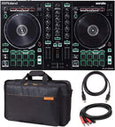 Roland DJ-202 DJ Controller with Built-In TR Drum Machine Bundle with Roland CB-BDJ202 Carrying Bag for DJ-202, Hosa CPR-202 Stereo TS to RCA Cable, and Blucoil 5-Ft MIDI Cable