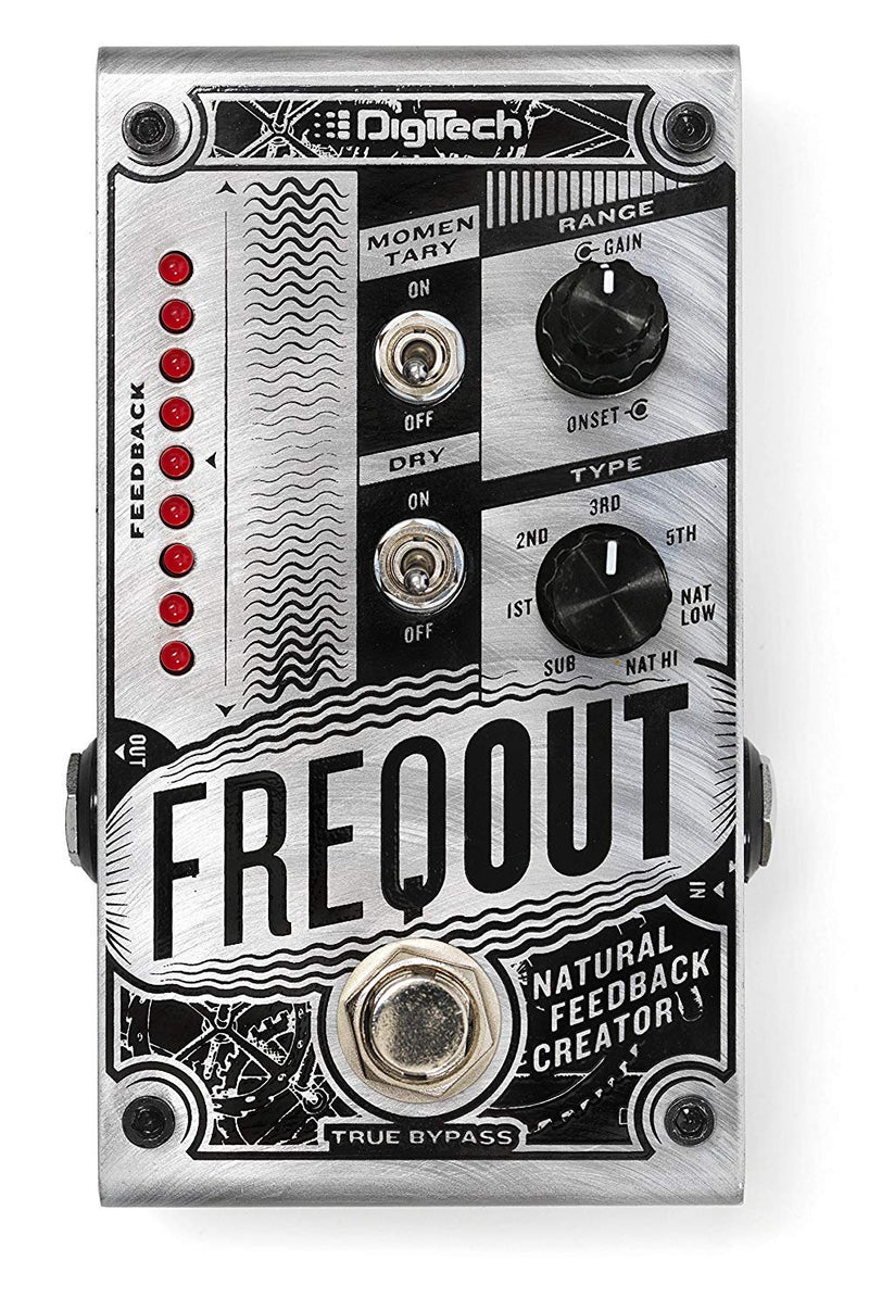 DigiTech FreqOut Natural Feedback Creator Effects Pedal Bundle with Blucoil Slim 9V 670ma Power Supply AC Adapter, 10-FT Mono Instrument Cable, 2-Pack of Pedal Patch Cables, and 4x Guitar Picks