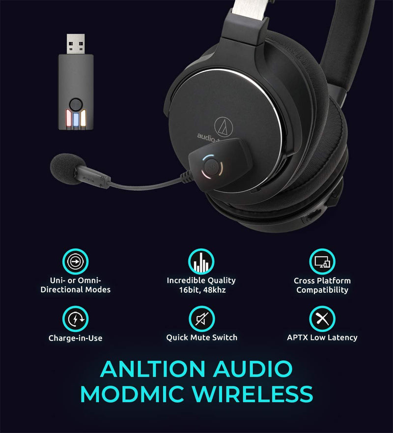 Audio-Technica ATH-SR5BTBK Bluetooth Headphones with NFC Sensor Bundle with Antlion Audio ModMic Wireless Attachable USB Microphone