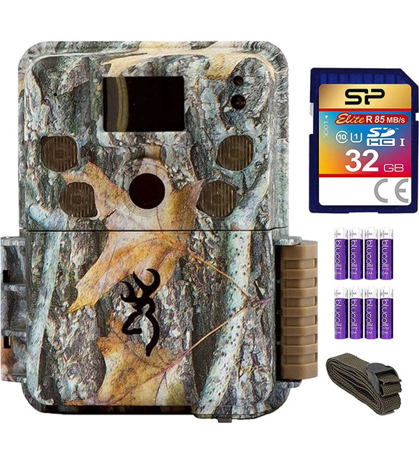 Browning Trail Cameras BTC-5PXD Strike Force Pro XD Full HD Video Camera with 24MP Image Resolution Bundle with 6-FT Tree Strap Mount, Silicon Power 32GB Class 10 SD Card 8 AA Batteries