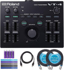 Roland VT-4 Voice Transformer Vocal Effects Processor Bundle with Blucoil 5-Ft MIDI Cable, 10-Ft Balanced XLR Cables (2-Pack), Cable Ties (5-Pack) and AA Batteries (4-Pack)