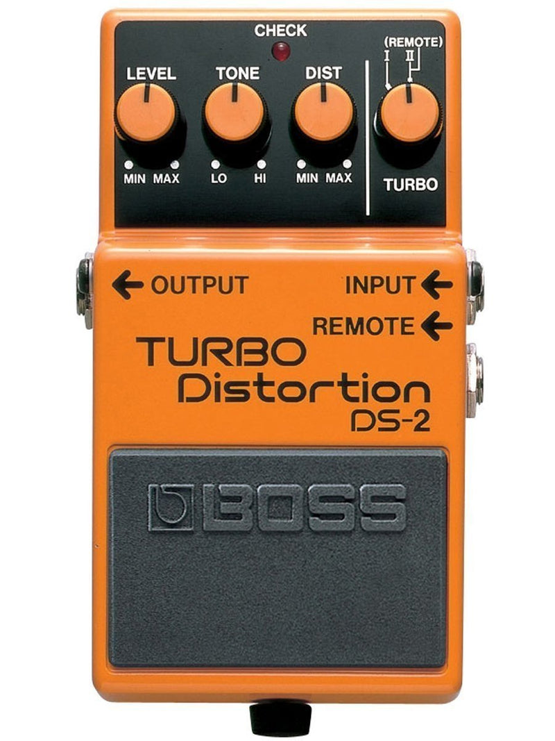 BOSS DS-2 Turbo Distortion Pedal Bundle with Blucoil 9V DC Power Supply with Short Circuit Protection and 4-Pack of Celluloid Guitar Picks