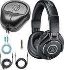 Audio-Technica ATH-M40x Dynamic Headphones Bundle with Slappa Full-Sized HardBody Pro Headphone Case, and Blucoil 6-FT Headphone Extension Cable (3.5mm)
