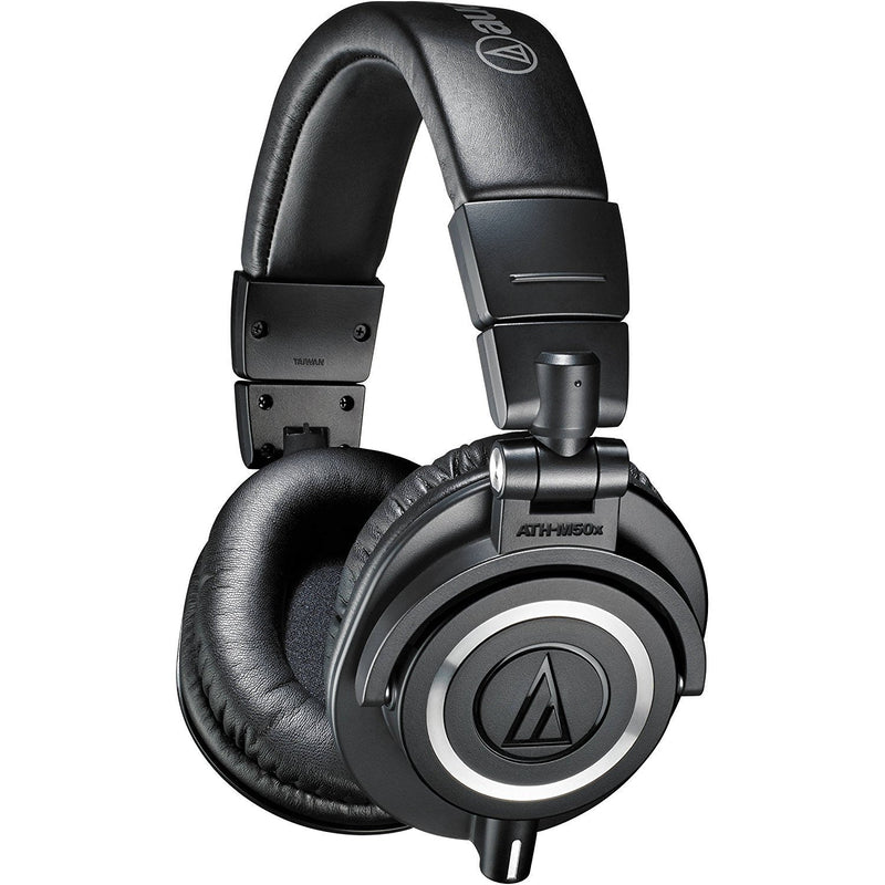 Audio-Technica ATH-M50x Professional Studio Monitor Headphones Bundle with FiiO A3 Black Portable Headphone Amplifier, and Blucoil Under-Desk Headphone Hook