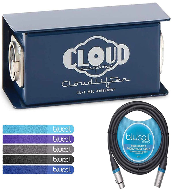 Cloud Microphones CL-1 Cloudlifter 1-Channel Mic Activator - Feedback Reducer Bundle with Blucoil 10-Ft Balanced XLR Cable, and 5-Pack of Reusable Cable Ties
