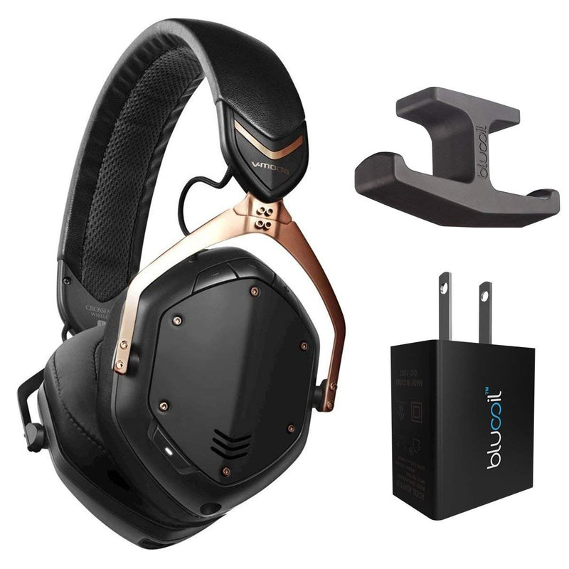 V-Moda XFBT2-RGOLDB Crossfade 2 Bluetooth Wireless Headphones with Active Noise Cancellation (Rose Gold) Bundle with Blucoil Under-Desk Headphone Hook and USB Adapter