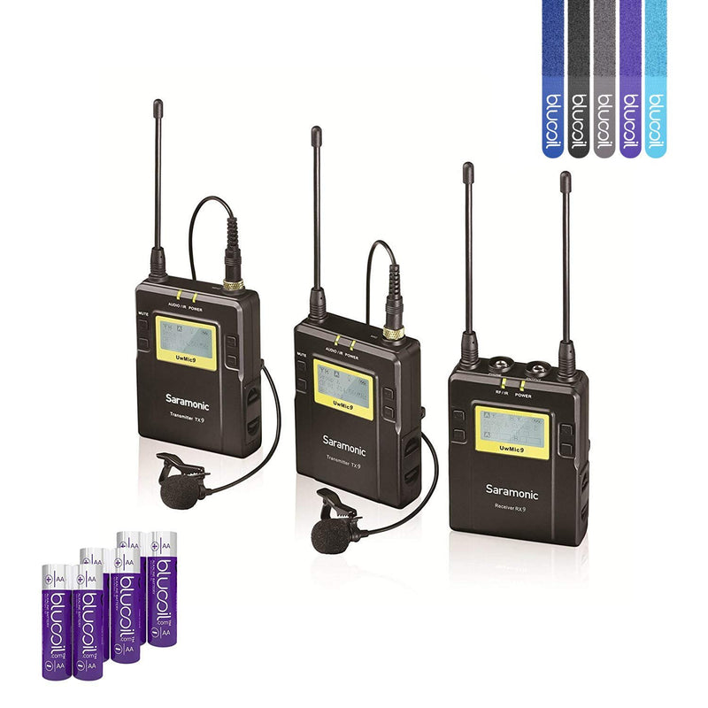 Saramonic UWMIC9 (RX9+TX9+TX9) 96-Channel Digital UHF Wireless Lavalier Microphone System with 2 Bodypack Transmitters Portable Receiver Bundle with 6 Blucoil AA Batteries and 5 Pack of Cable Ties