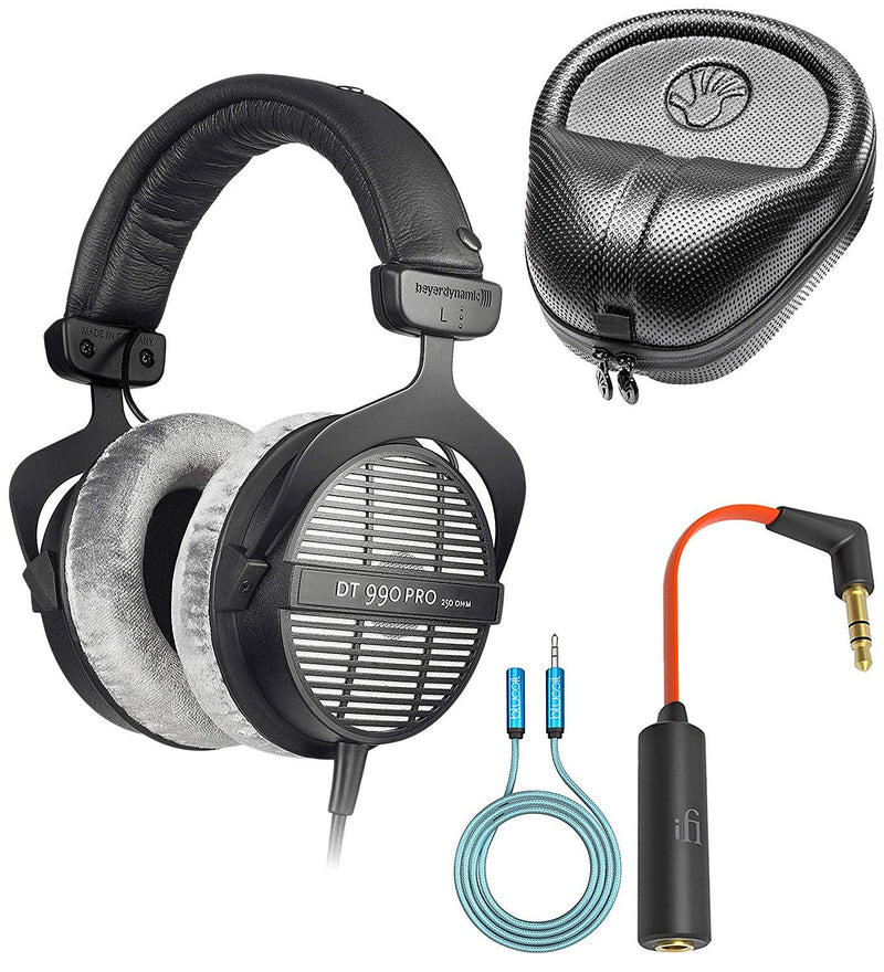 Beyerdynamic DT 990 PRO 250 Ohm Open Back Headphones Bundled with SLAPPA Full Sized Hardbody PRO Headphone Case, Ear Buddy Headphone Optimizer and Travel Kit and Blucoil 6-Ft Audio Extension Cable