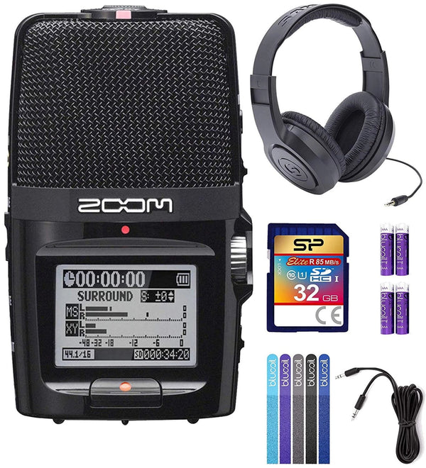 Zoom H2N Handy Recorder Bundle with Samson SR350 Over-Ear Closed-Back Headphones, Silicon Power 32GB Class 10 SDHC SD Card, 6-FT Stereo Aux Cable, 4x Blucoil AA Batteries and 5x Cable Ties
