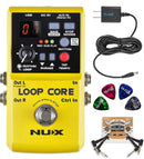 NUX Loop Core Looper Effects Pedal with Tap Tempo Bundle with Blucoil 9V DC Power Supply with Short Circuit Protection, 2-Pack of Pedal Patch Cables and 4-Pack of Celluloid Guitar Picks