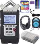 Zoom H4N PRO Handy Recorder Bundle with Samson SR350 Over-Ear Closed-Back Headphones, Silicon Power 16GB Class 10 SD Card, 6' Aux Cable, 2x Blucoil 10' XLR Cables, 5x Cable Ties, and 4 AA Batteries