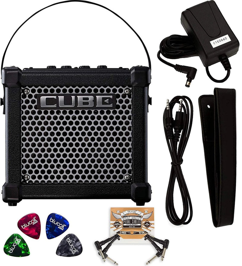 Roland MICRO CUBE GX 3 Watt Guitar Amplifier with Built-In Chromatic Tuner (Black) Bundle with 2-Pack of Blucoil Pedal Patch Cables and 4-Pack of Celluloid Guitar Picks