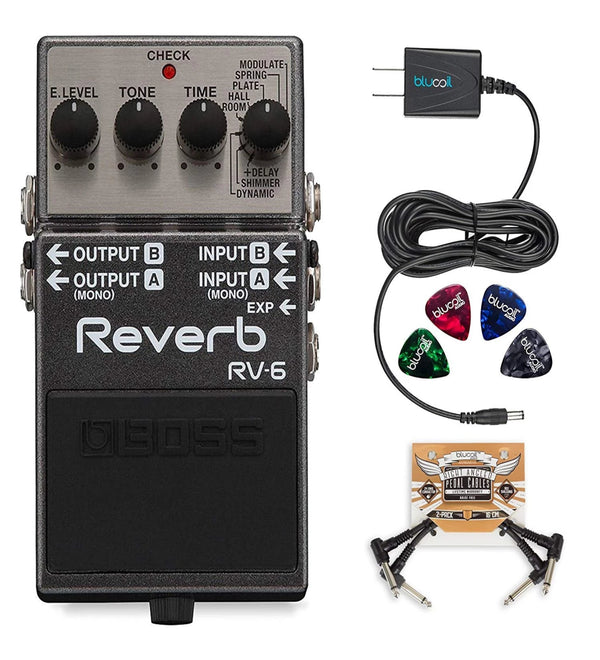 BOSS RV-6 Digital Reverb Pedal + Blucoil 9V AC Adapter + 2x Patch Cables + 4x Guitar Picks