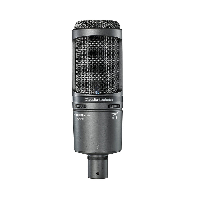 Audio-Technica AT2020USB PLUS Cardioid Condenser USB Microphone with Samson SR850 Professional Studio Reference Headphones