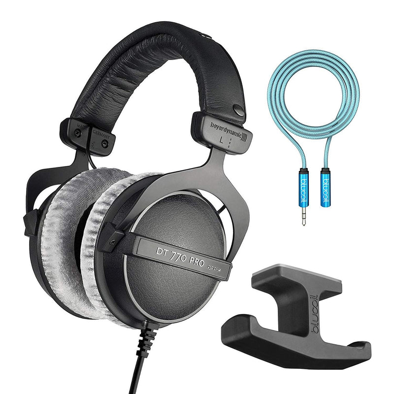 Beyerdynamic DT 770 PRO 32Ohm Closed Dynamic Headphones Bundle with Blucoil Stick-On Under Desk Dual Headphone Stand Mount
