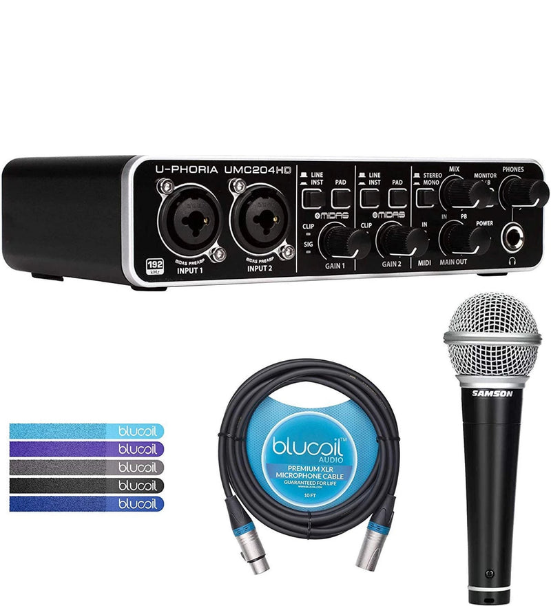 Behringer U-PHORIA UMC204HD USB MIDI/Audio Interface Bundle with Tracktion Software, Samson R21S Cardioid Dynamic Microphone, Blucoil 10-FT Balanced XLR Cable, and 5-Pack of Reusable Cable Ties