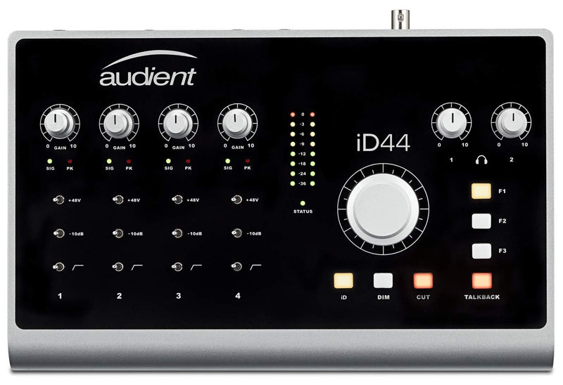 "Audient ID44 20-In x 24-Out USB Audio Interface Monitor Controller Bundle with iD Mixer Software, Hosa 5' Straight Instrument Cable (1/4""), Blucoil 2x 10' XLR Cables, 5x Cable Ties, and Pop Filter"