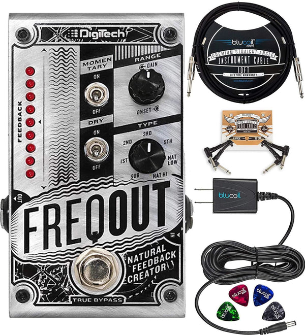 "DigiTech FreqOut Natural Feedback Creator + Blucoil 9V AC Adapter + 10' Straight Instrument Cable (1/4"") + 2x Patch Cables + 4x Guitar Picks"