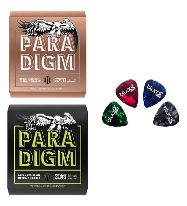 Ernie Ball Paradigm Regular Slinky Electric Guitar Strings P02021, Set of .010-.046 Bundle with Paradigm Medium Light Phosphor Bronze Acoustic Strings P02076, Set of .012-.054, 4 Blucoil Guitar Picks