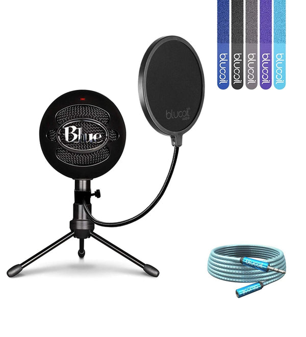 Blue Microphones Snowball iCE Microphone (Black) + Blucoil Pop Filter + 6' 3.5mm Extension Cable + 5x Cable Ties